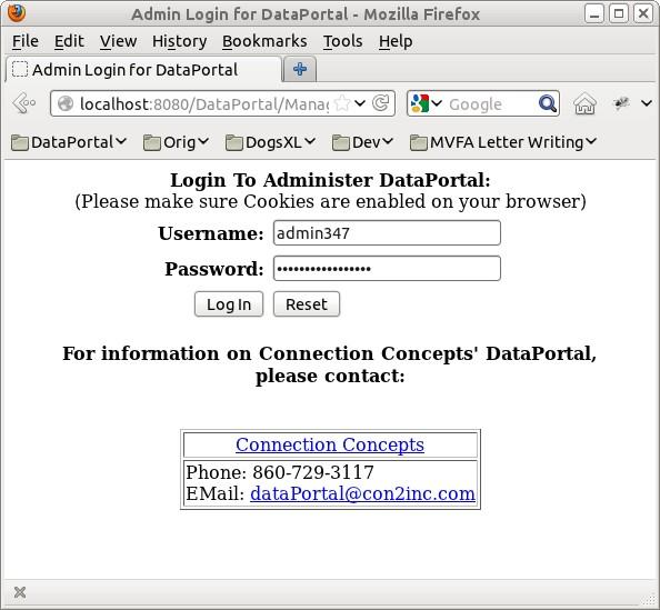 DataPortal Admin Login